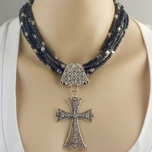 Seven Strand Seed Bead Cross Necklace Set